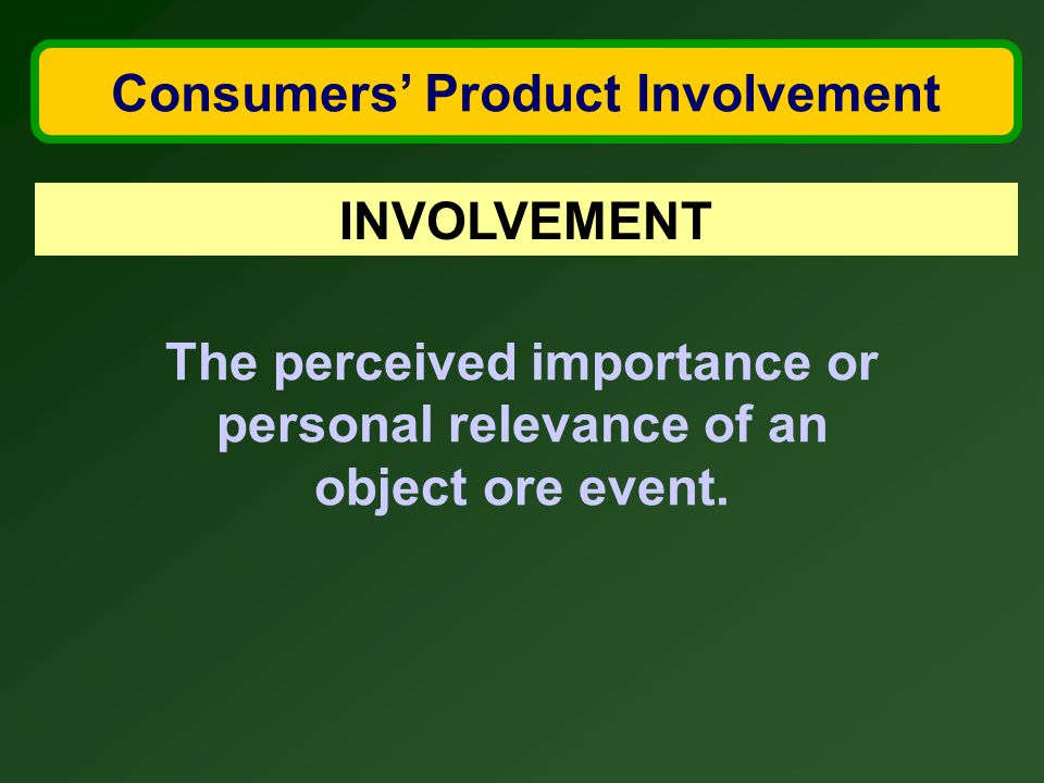 Consumers' Product Involvement