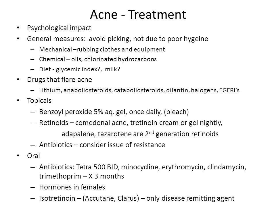 Acne - Treatment Psychological impact