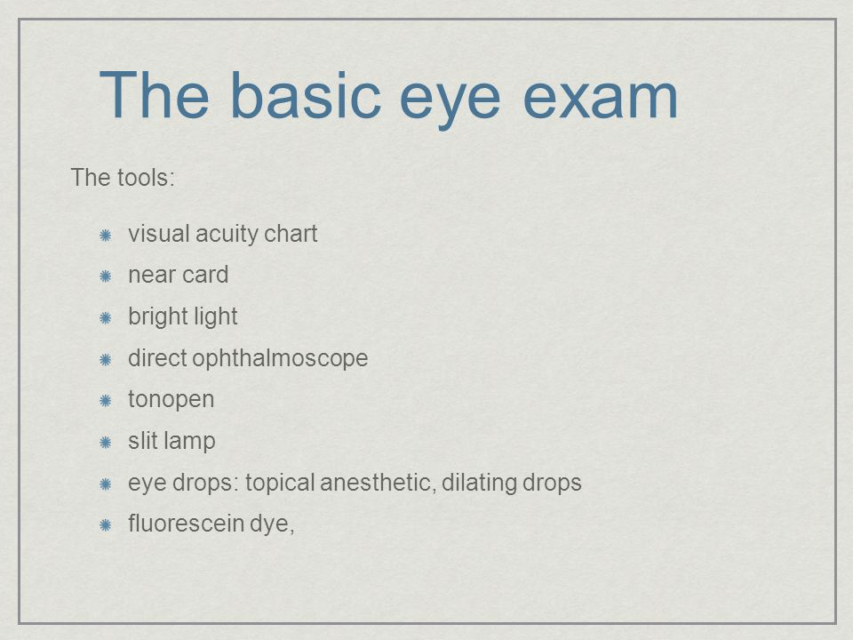 The basic eye exam The tools: visual acuity chart near card