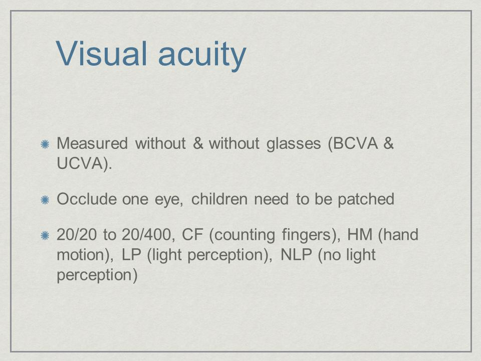 Visual acuity Measured without & without glasses (BCVA & UCVA).