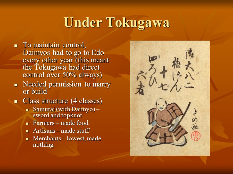 Under Tokugawa To maintain control, Daimyos had to go to Edo every other year (this meant the Tokugawa had direct control over 50% always)