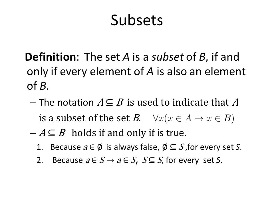 Subsets Definition: The set A is a subset of B, if and only if every element of A is also an element of B.