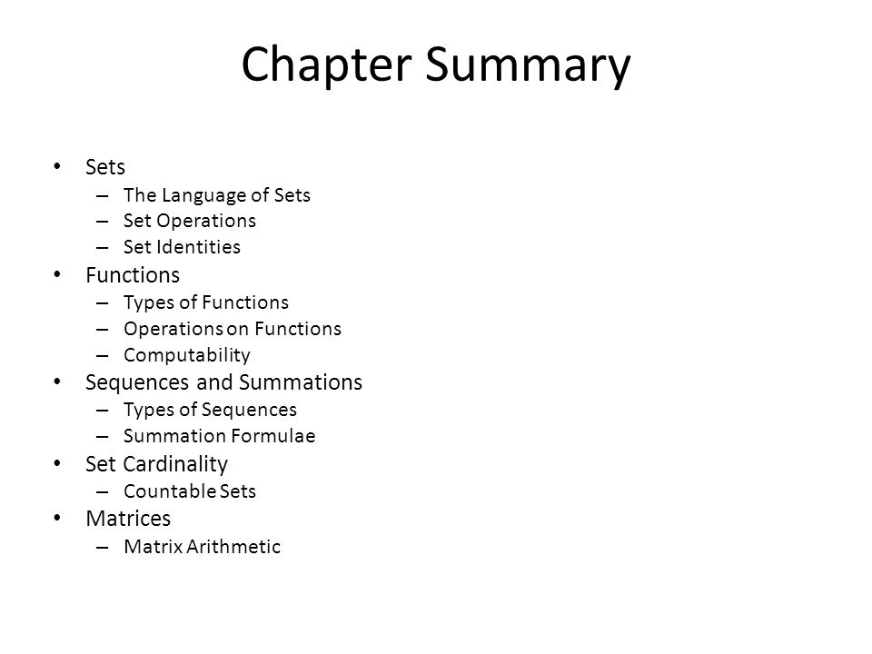 Chapter Summary Sets Functions Sequences and Summations