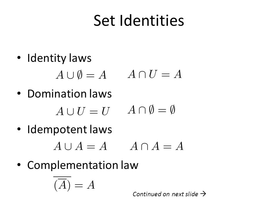 Set Identities Identity laws Domination laws Idempotent laws