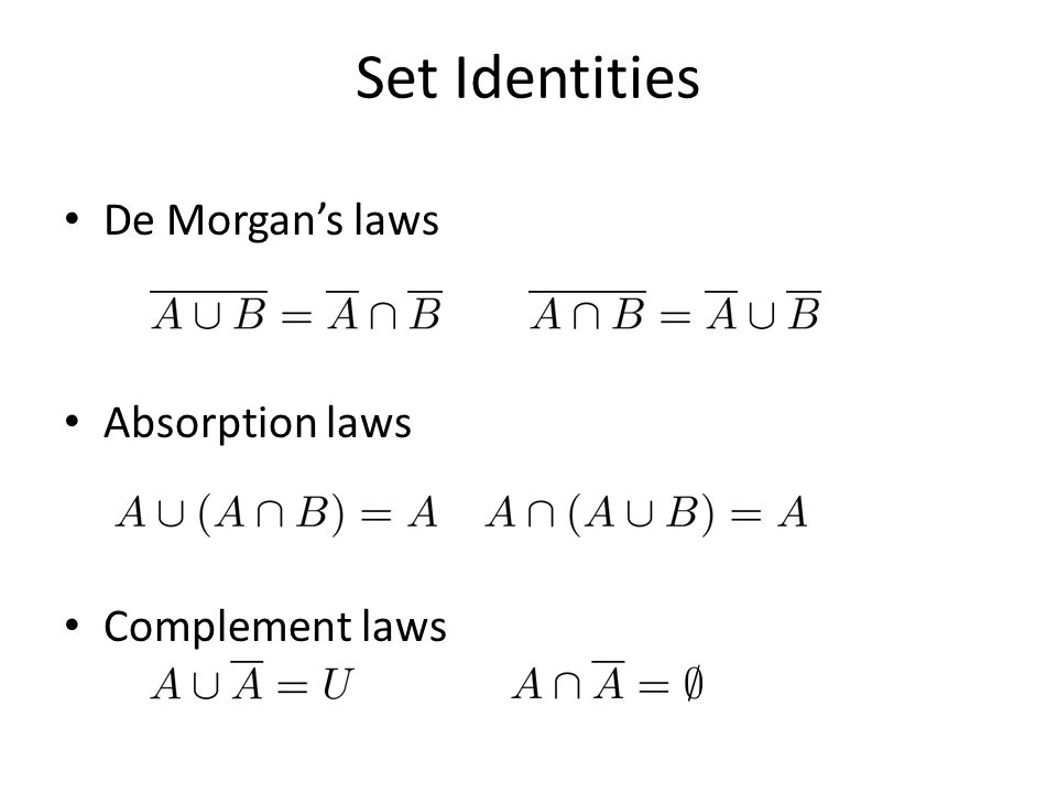 Set Identities De Morgan's laws Absorption laws Complement laws