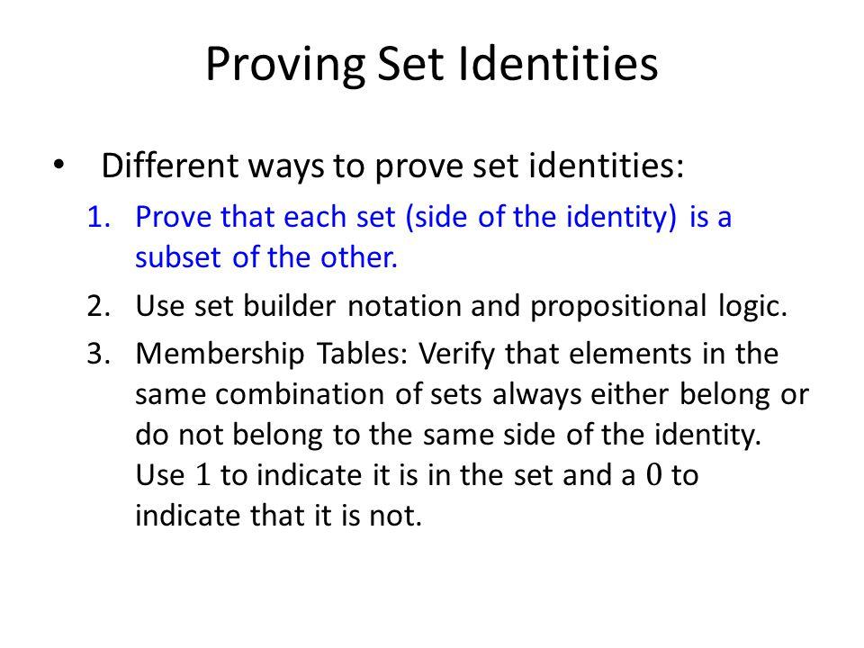 Proving Set Identities