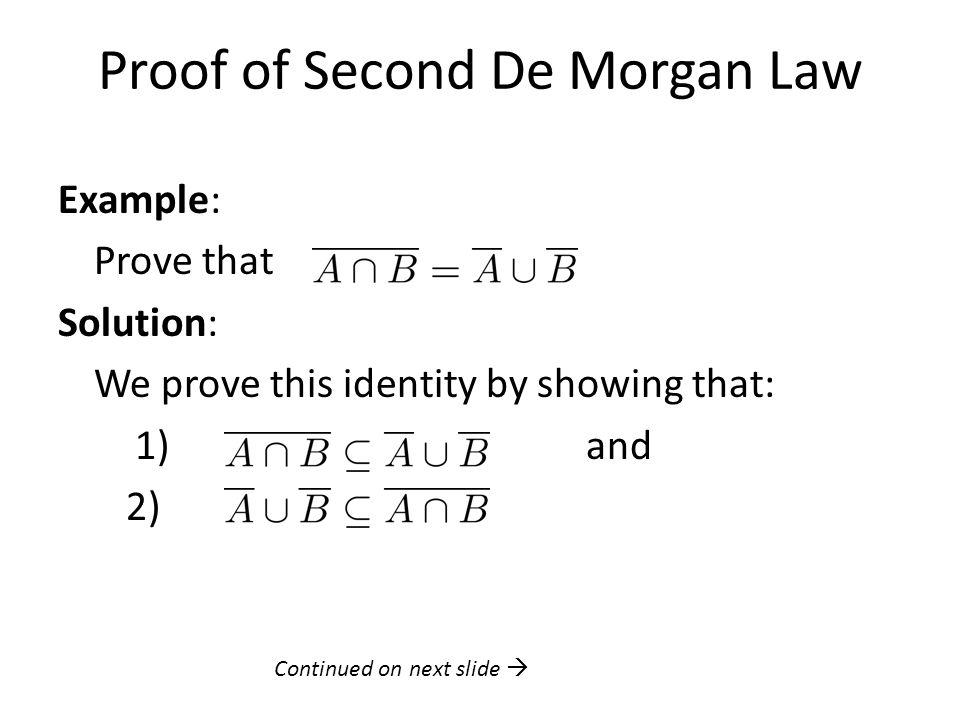 Proof of Second De Morgan Law