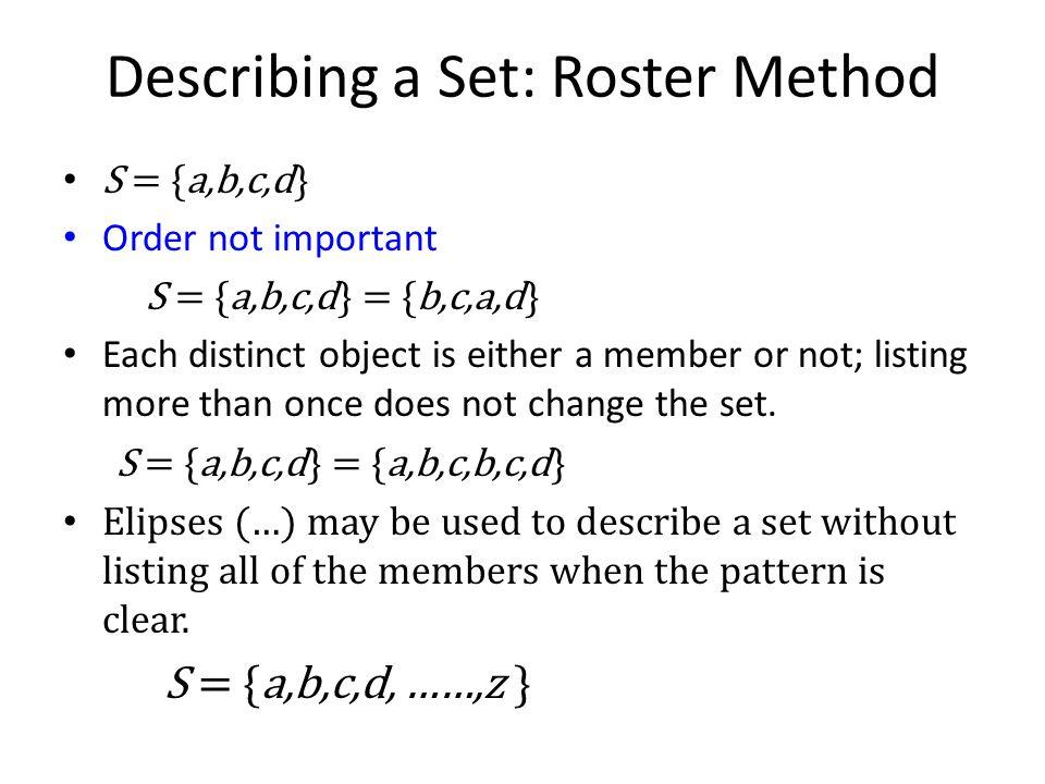 Describing a Set: Roster Method