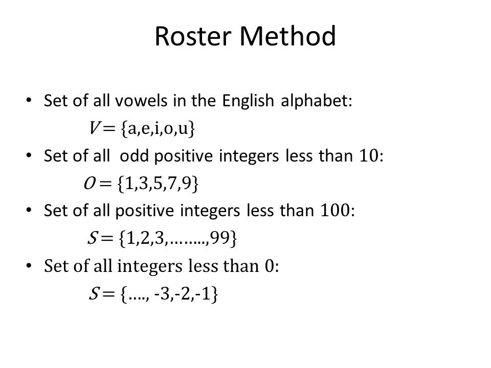 Roster Method Set of all vowels in the English alphabet: