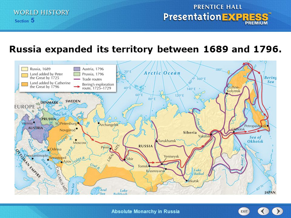 Russia expanded its territory between 1689 and 1796.