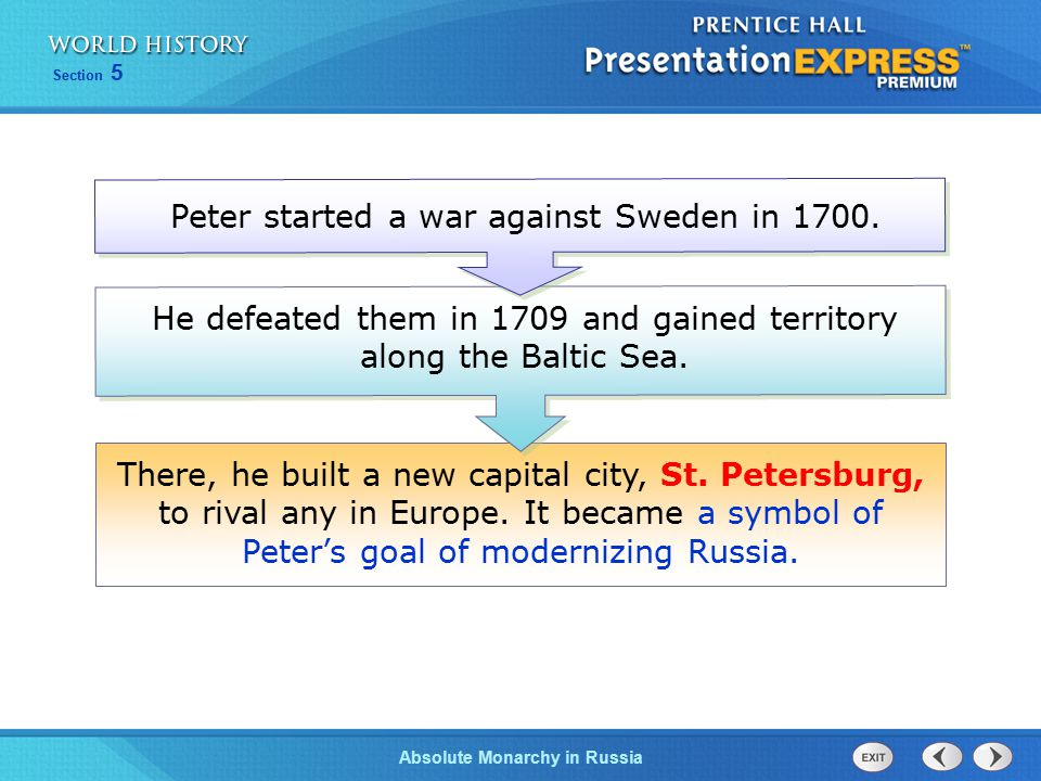 Peter started a war against Sweden in 1700.