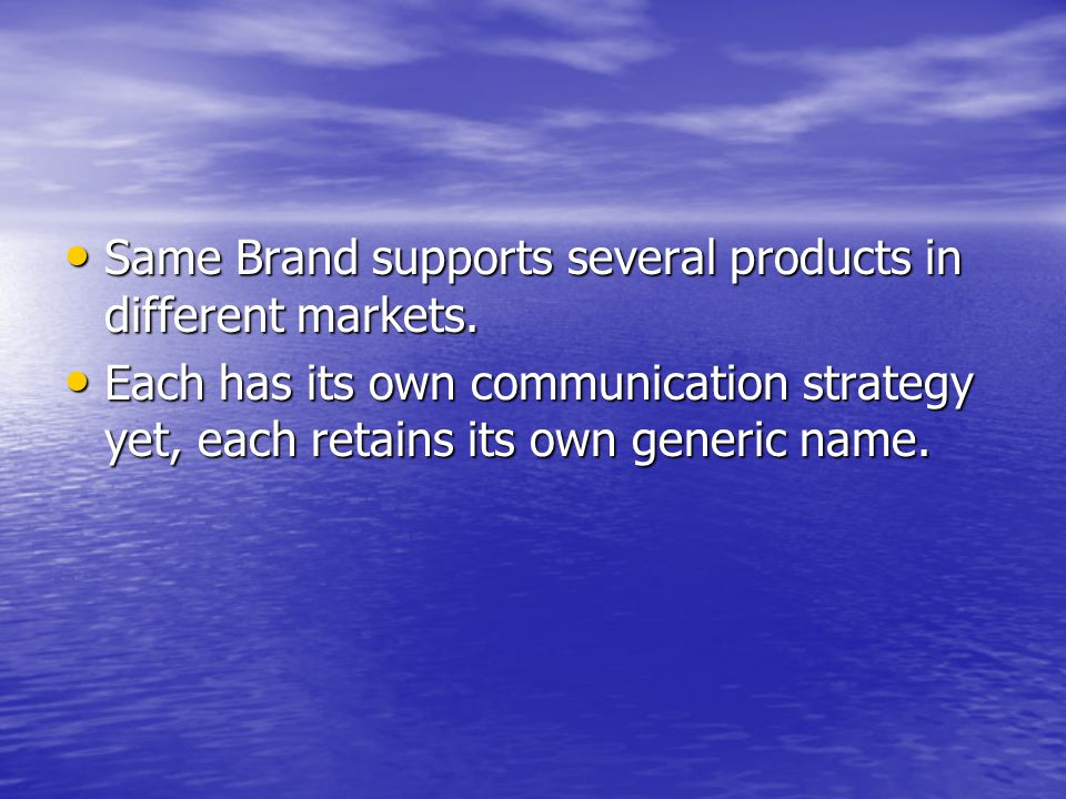 Same Brand supports several products in different markets.