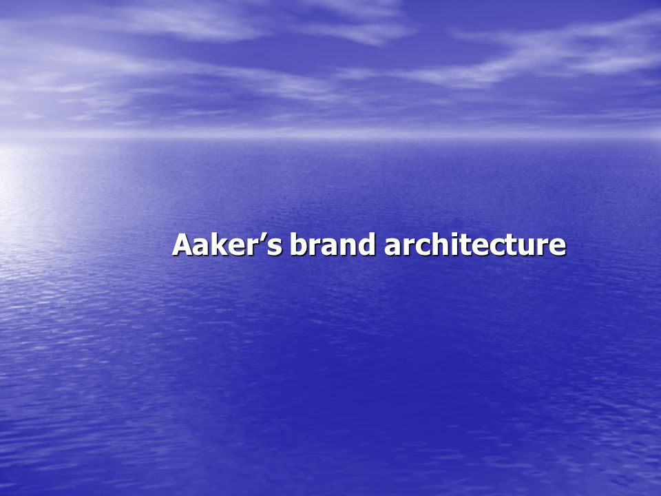 Aaker's brand architecture