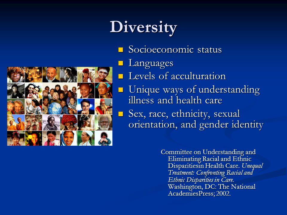 Diversity Socioeconomic status Languages Levels of acculturation