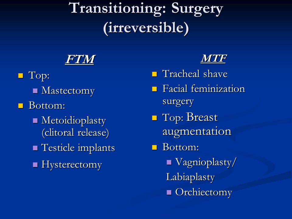 Transitioning: Surgery (irreversible)