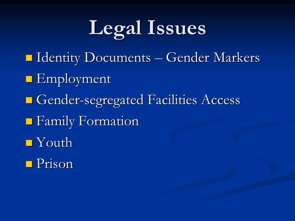 Legal Issues Identity Documents – Gender Markers Employment