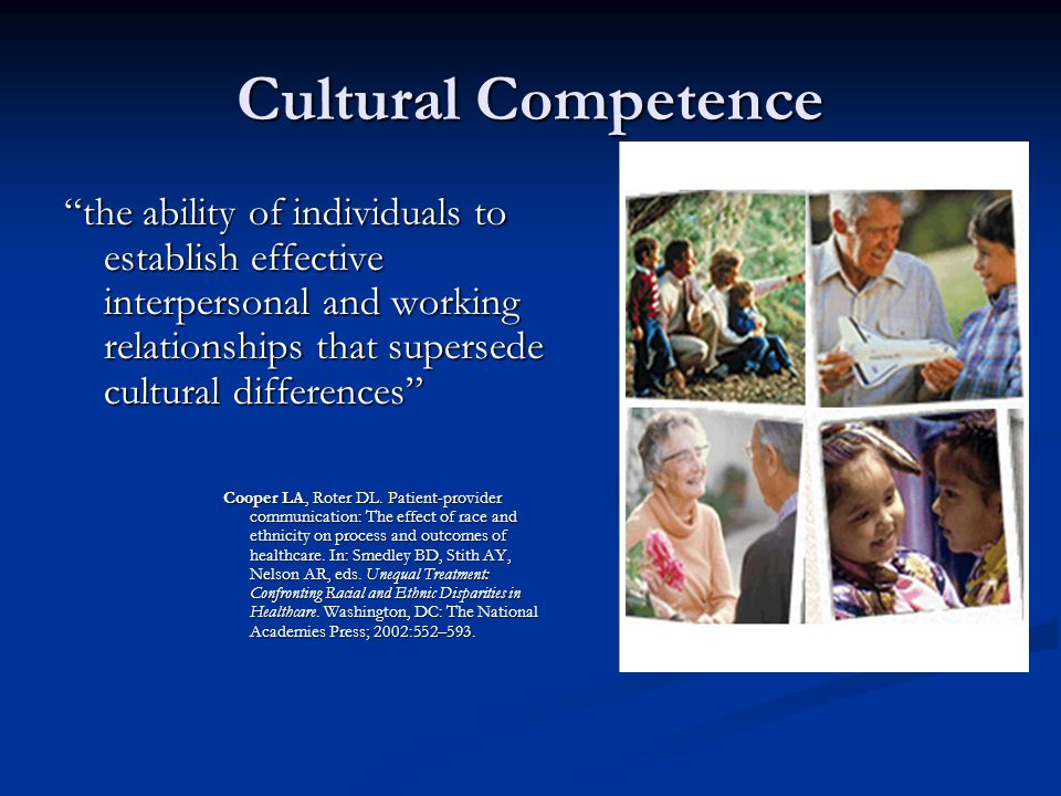Cultural Competence the ability of individuals to establish effective interpersonal and working relationships that supersede cultural differences