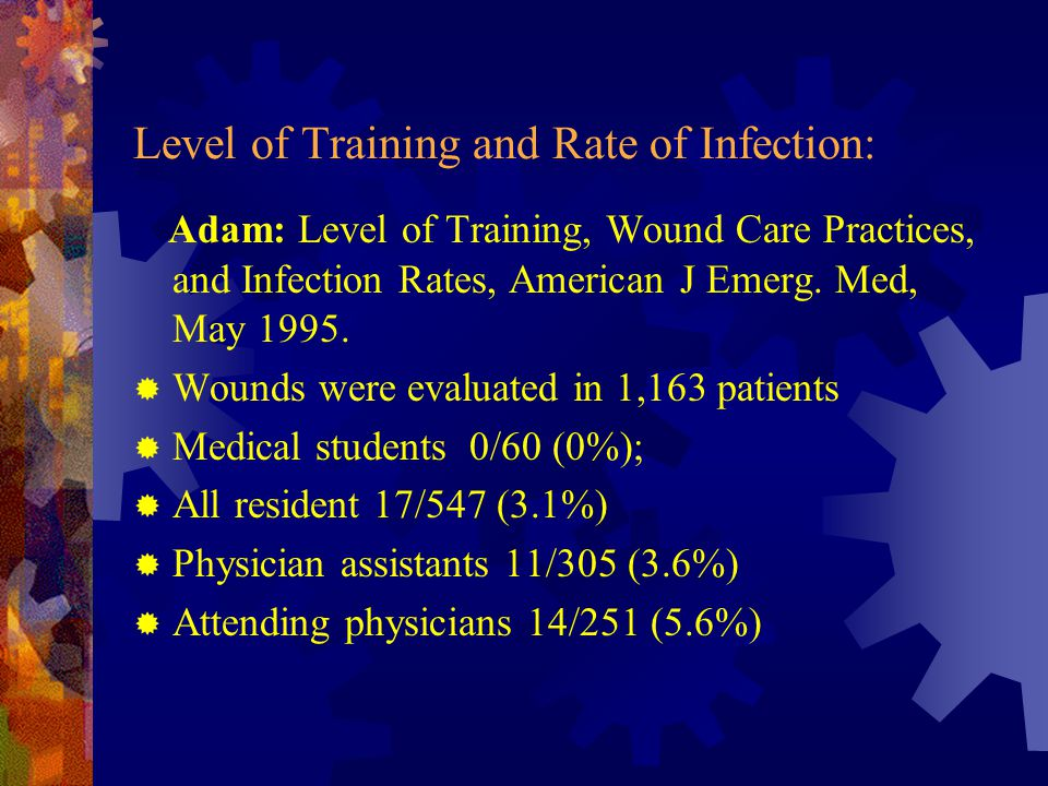 Level of Training and Rate of Infection: