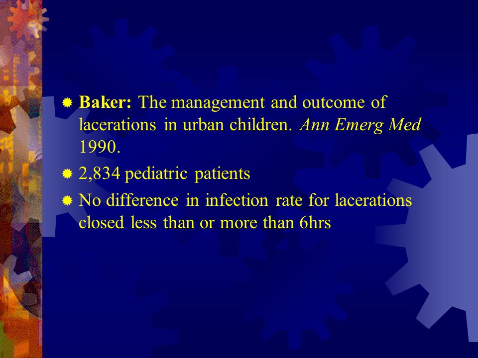 Baker: The management and outcome of lacerations in urban children