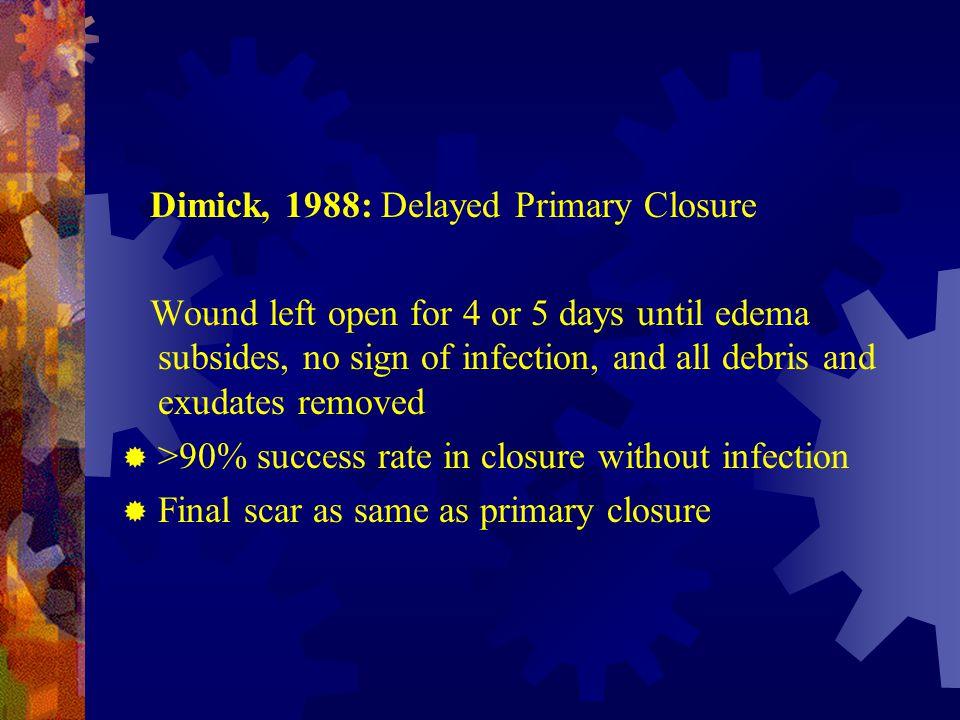 Dimick, 1988: Delayed Primary Closure
