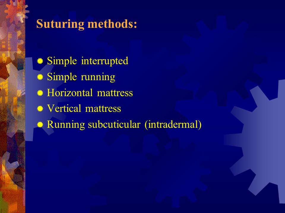 Suturing methods: Simple interrupted Simple running