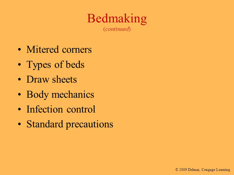 Bedmaking (continued)