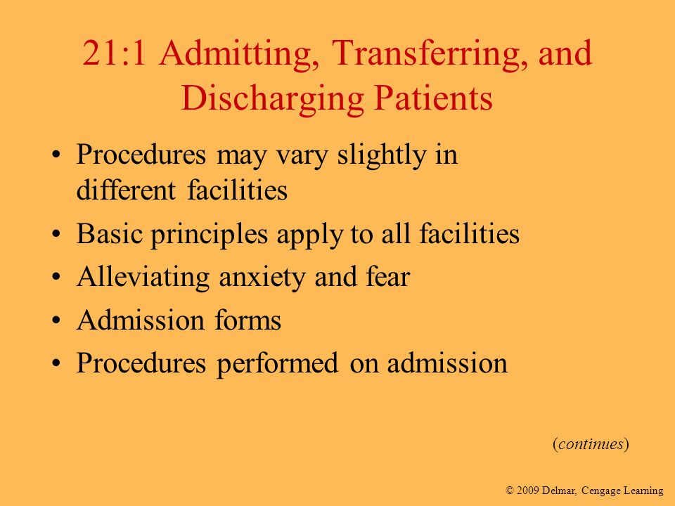 21:1 Admitting, Transferring, and Discharging Patients