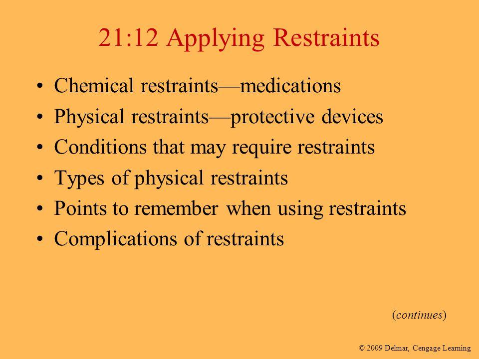 21:12 Applying Restraints Chemical restraints—medications