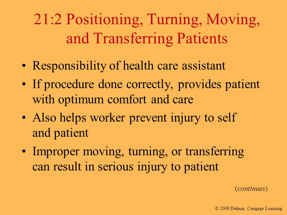 21:2 Positioning, Turning, Moving, and Transferring Patients