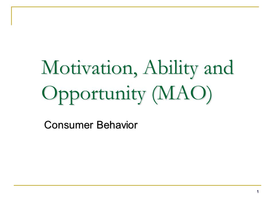 Motivation, Ability and Opportunity (MAO)