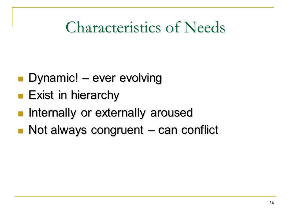 Characteristics of Needs