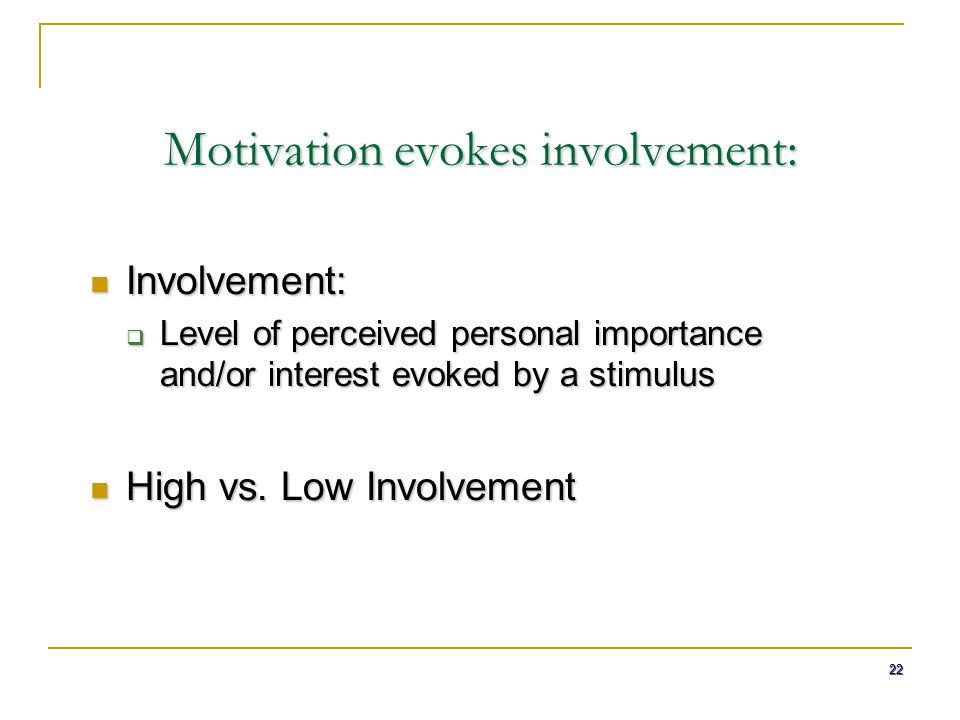 Motivation evokes involvement: