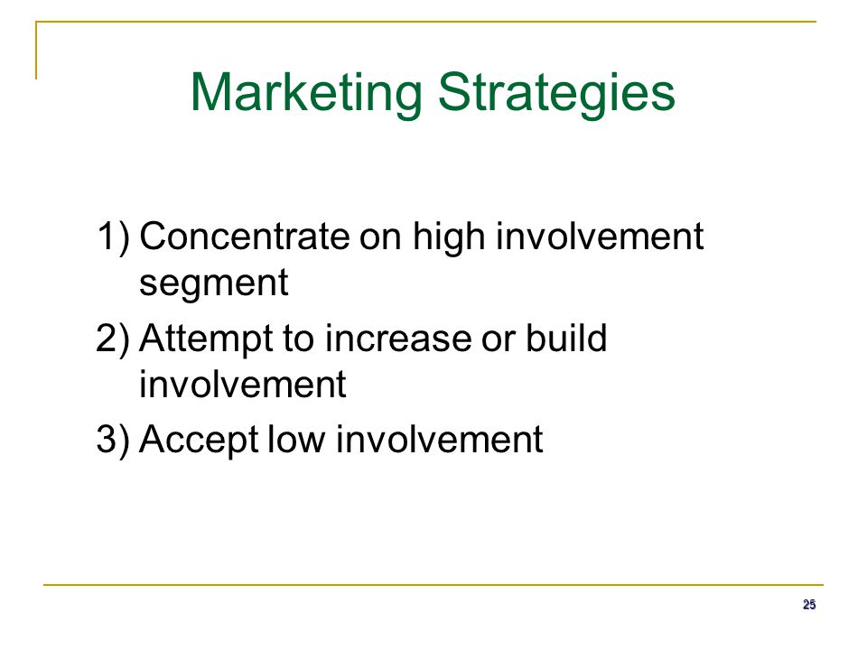 Marketing Strategies Concentrate on high involvement segment