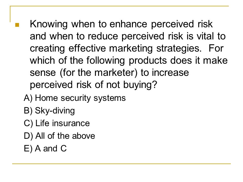Knowing when to enhance perceived risk and when to reduce perceived risk is vital to creating effective marketing strategies. For which of the following products does it make sense (for the marketer) to increase perceived risk of not buying