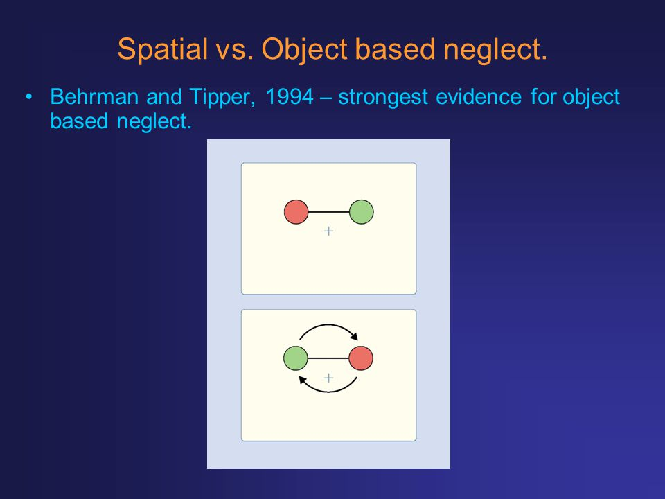 Spatial vs. Object based neglect.