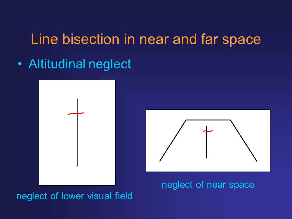 Line bisection in near and far space