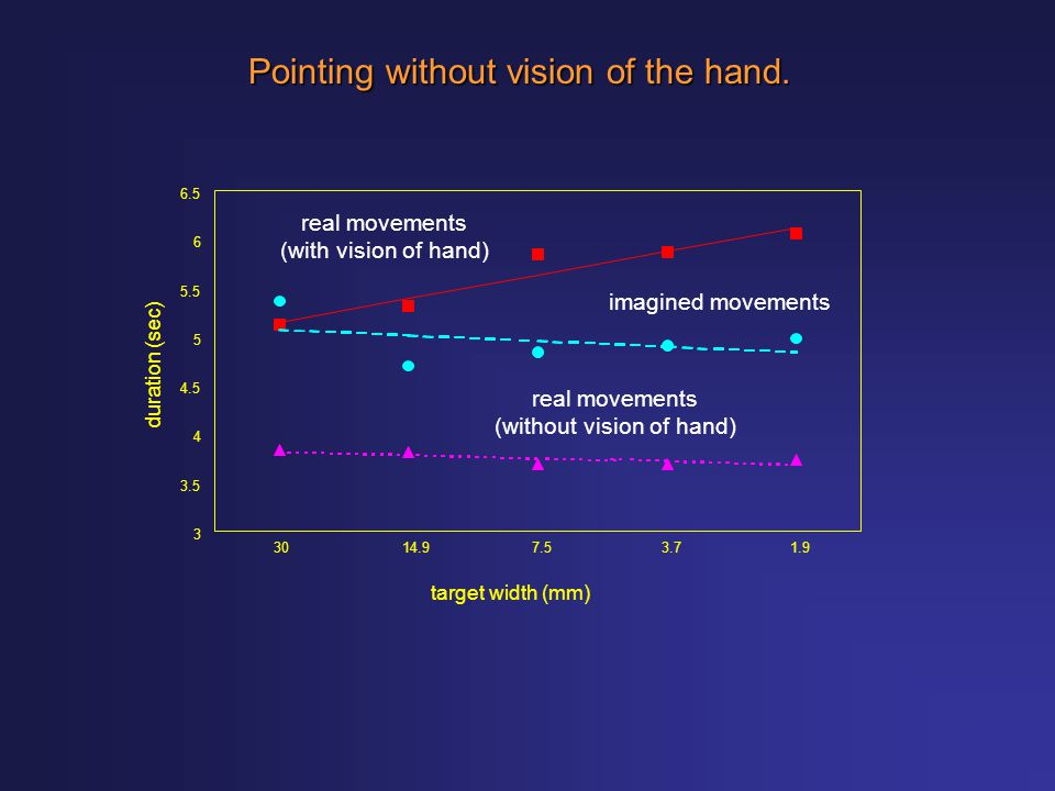 Pointing without vision of the hand.