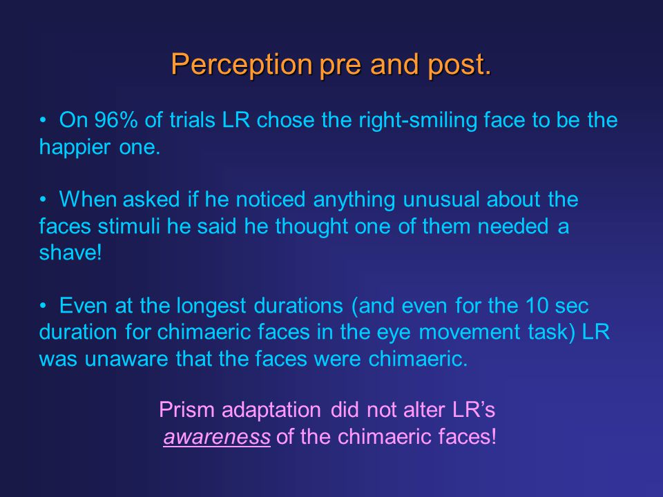 Perception pre and post.