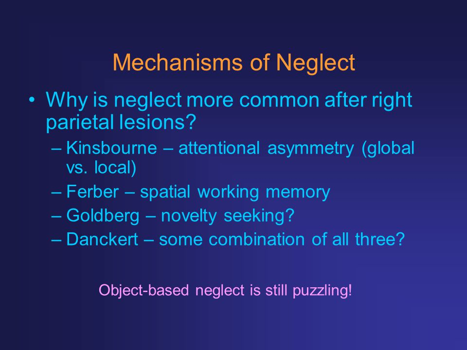 Mechanisms of Neglect Why is neglect more common after right parietal lesions Kinsbourne – attentional asymmetry (global vs. local)