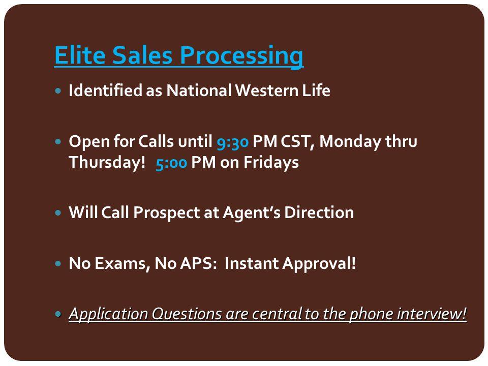 Elite Sales Processing