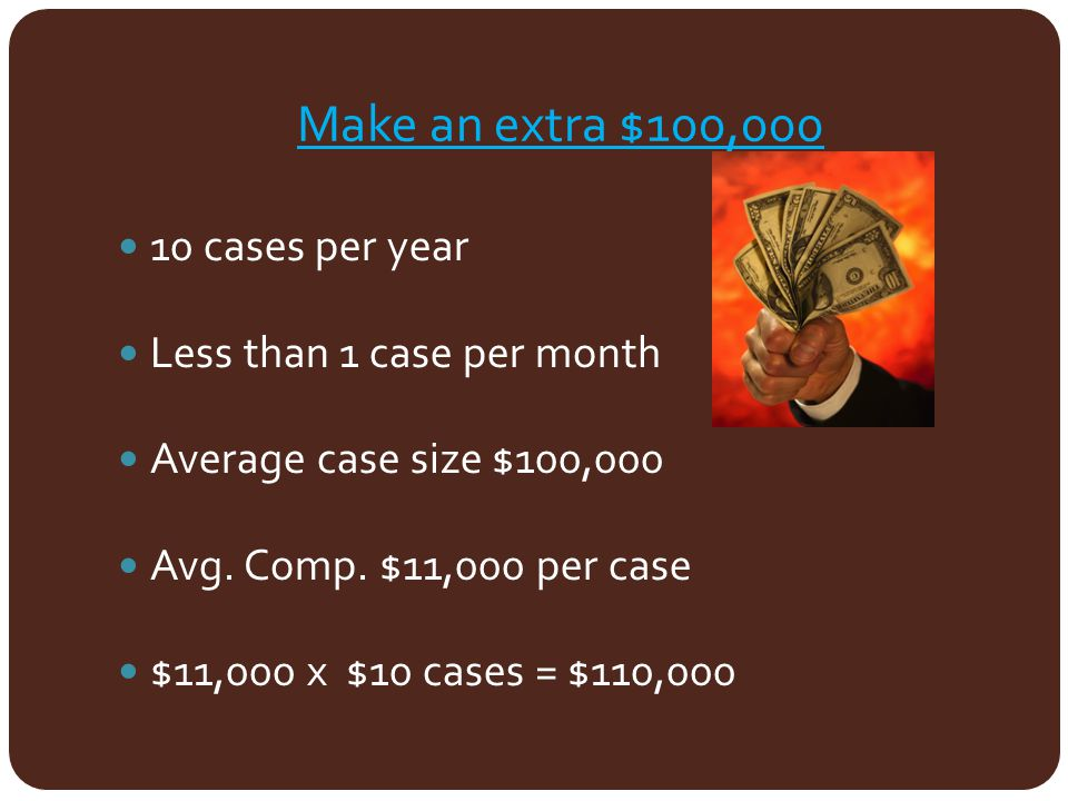 Make an extra $100,000 10 cases per year Less than 1 case per month