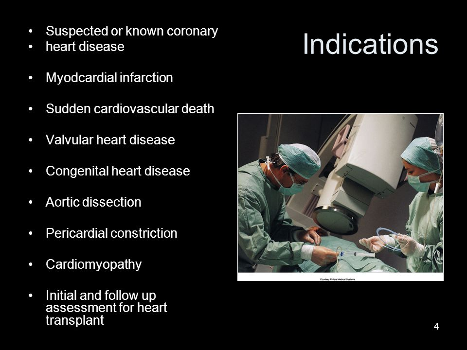 Indications Suspected or known coronary heart disease