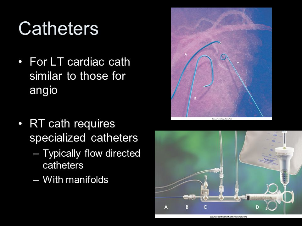 Catheters For LT cardiac cath similar to those for angio