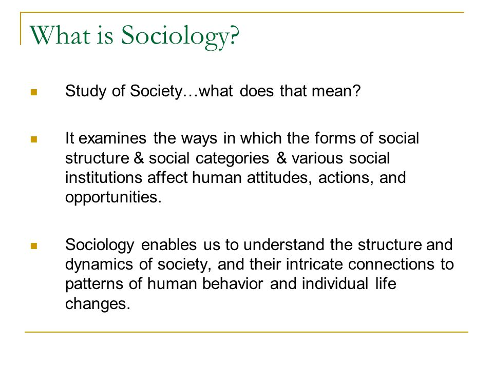 What is Sociology Study of Society…what does that mean