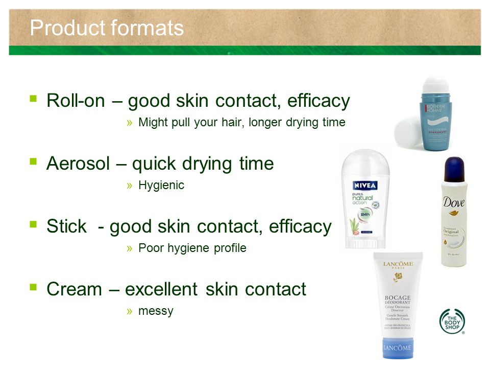 Product formats Roll-on – good skin contact, efficacy