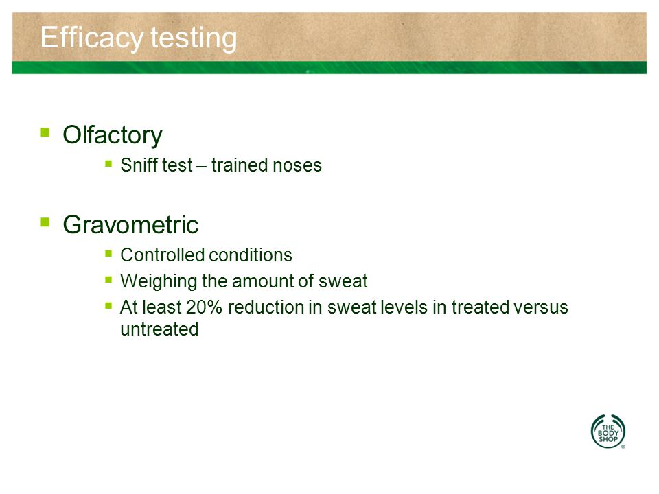 Efficacy testing Olfactory Gravometric Sniff test – trained noses