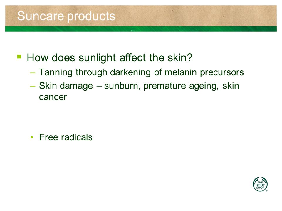 Suncare products How does sunlight affect the skin