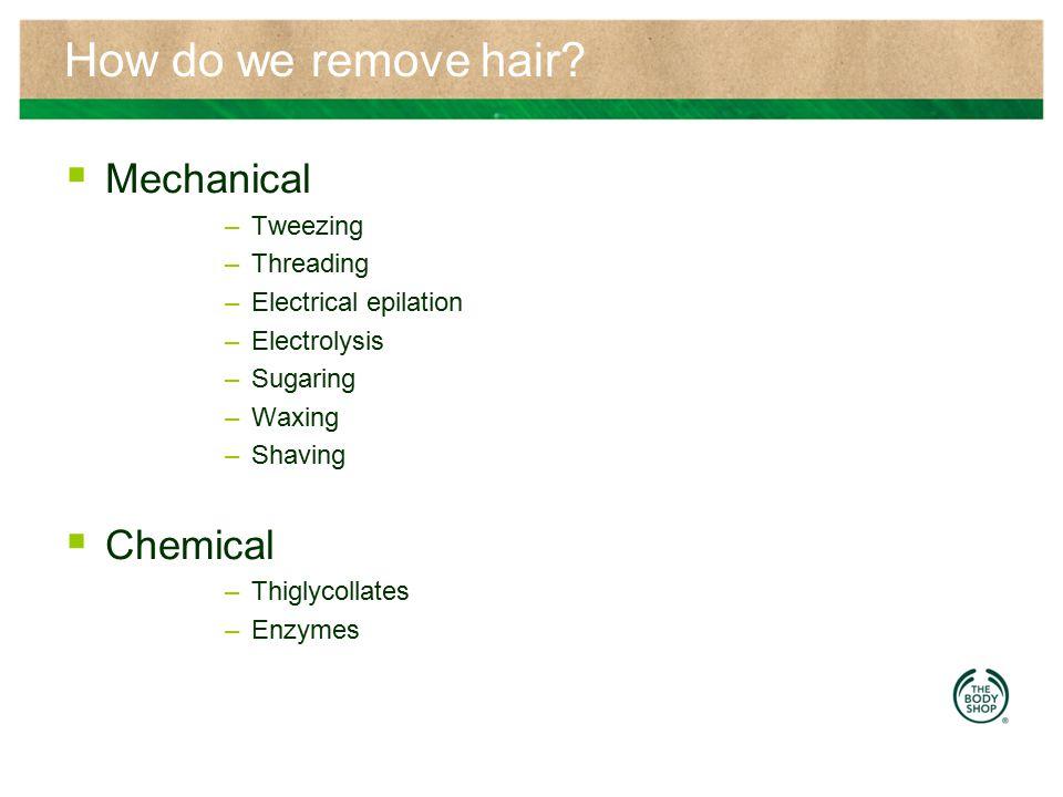 How do we remove hair Mechanical Chemical Tweezing Threading