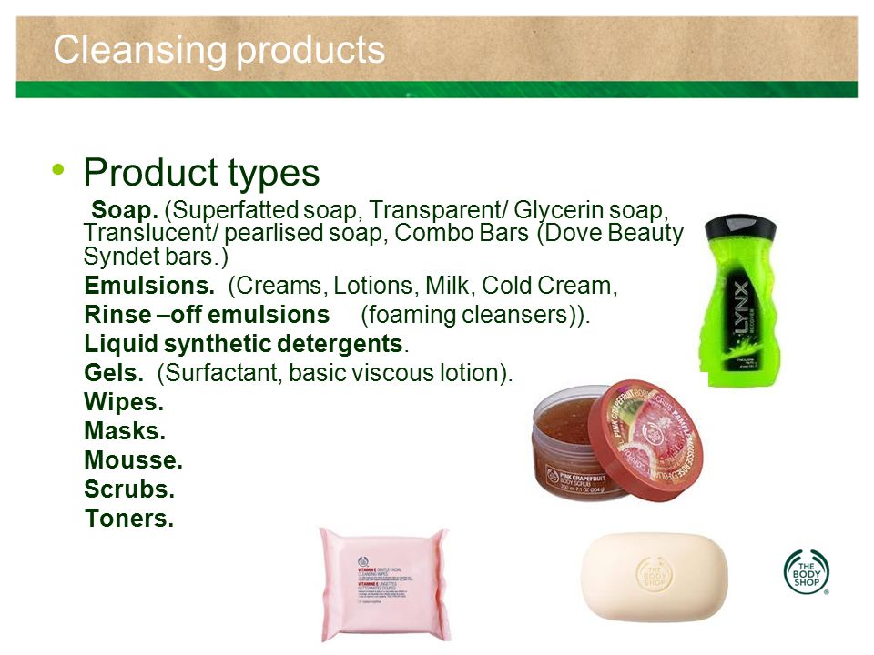 Cleansing products Product types