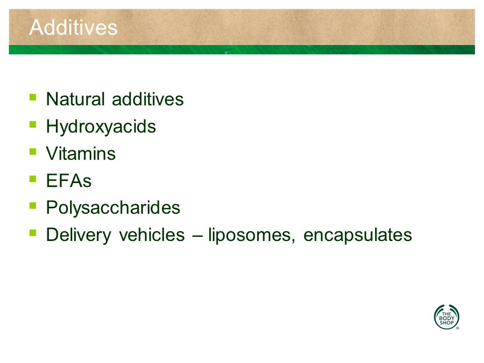 Additives Natural additives Hydroxyacids Vitamins EFAs Polysaccharides